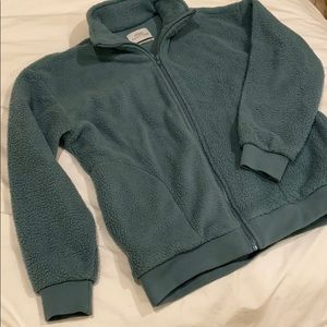 urban outfitters teal fleece jacket
